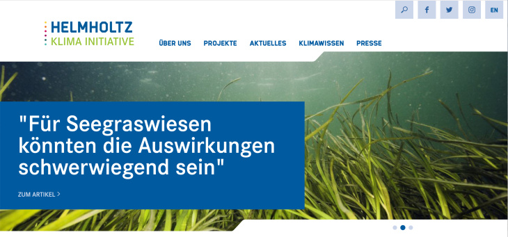 Screenshot Helmholtz Klima Initiative breit